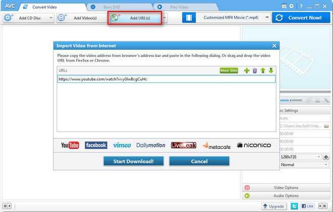 1. تحميل فيديو من اليوتوب مع With Any Video Converter Free