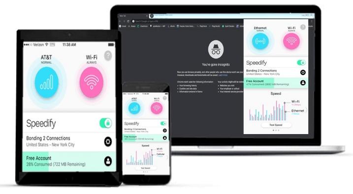 Speedify –8 ربط القنوات للحصول على سرعة إضافية