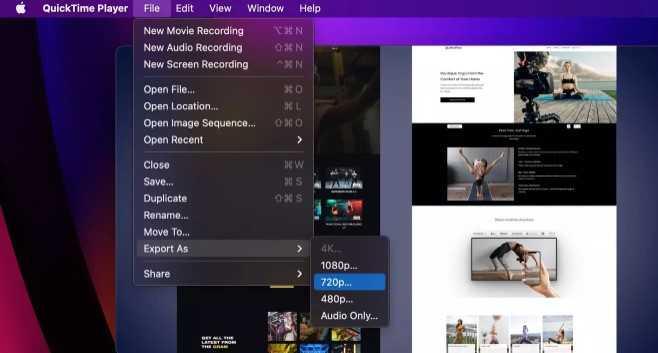 تصغير حجم الفيديو باستخدام QuickTime